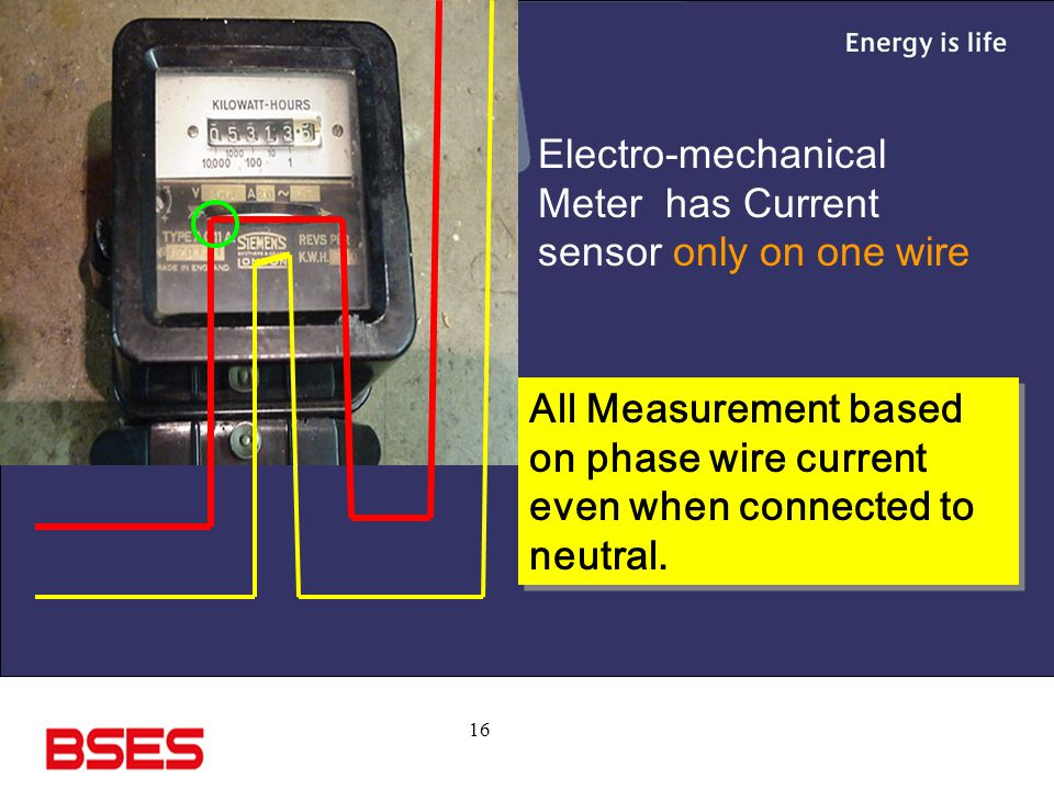 16 Electro-mechanical Meter has Current sensor only on one wire All Measurement based on phase wire current even when connected to neutral.