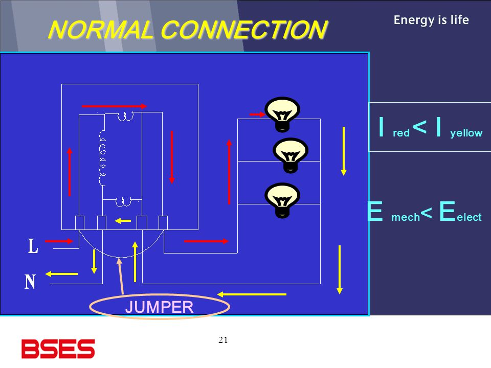 21 NORMAL CONNECTION I red < I yellow E mech < E elect JUMPER