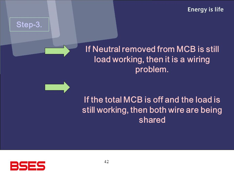 42 Step-3.If Neutral removed from MCB is still load working, then it is a wiring problem.