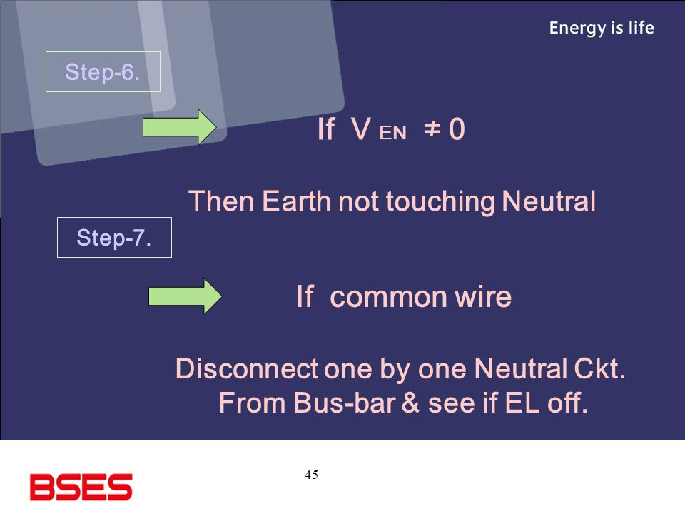 45 Step-6.If V EN ≠ 0 Then Earth not touching Neutral Step-7.