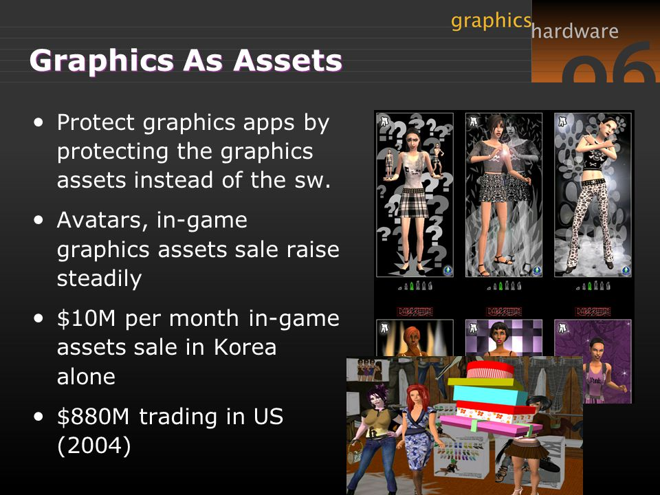 Graphics As Assets Protect graphics apps by protecting the graphics assets instead of the sw.