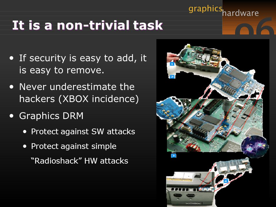 It is a non-trivial task If security is easy to add, it is easy to remove.