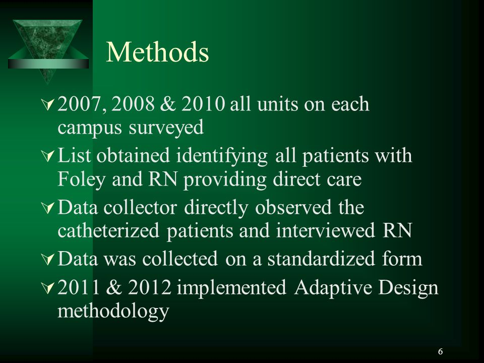 Methods  2007, 2008 & 2010 all units on each campus surveyed  List obtained identifying all patients with Foley and RN providing direct care  Data collector directly observed the catheterized patients and interviewed RN  Data was collected on a standardized form  2011 & 2012 implemented Adaptive Design methodology 6