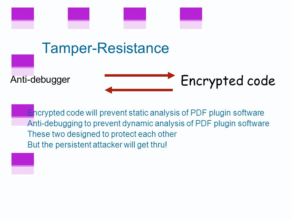 Security Overview Obfuscation Tamper-resistance A tamper-resistant outer layer Software obfuscation applied within