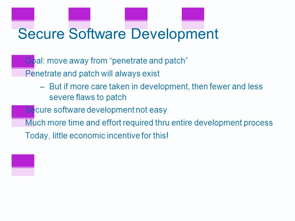 Software Development General software development model –Specify –Design –Implement –Test –Review –Document –Manage –Maintain