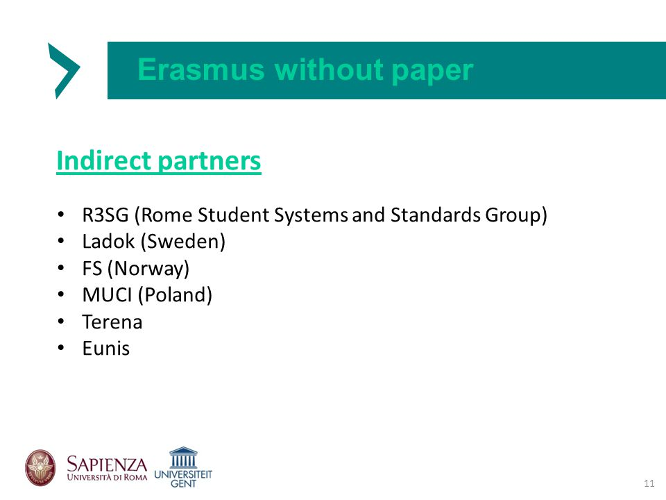 Erasmus without paper Indirect partners 11 R3SG (Rome Student Systems and Standards Group) Ladok (Sweden) FS (Norway) MUCI (Poland) Terena Eunis