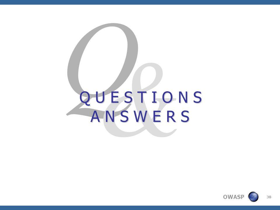 OWASP 38 Q & Q U E S T I O N S A N S W E R S