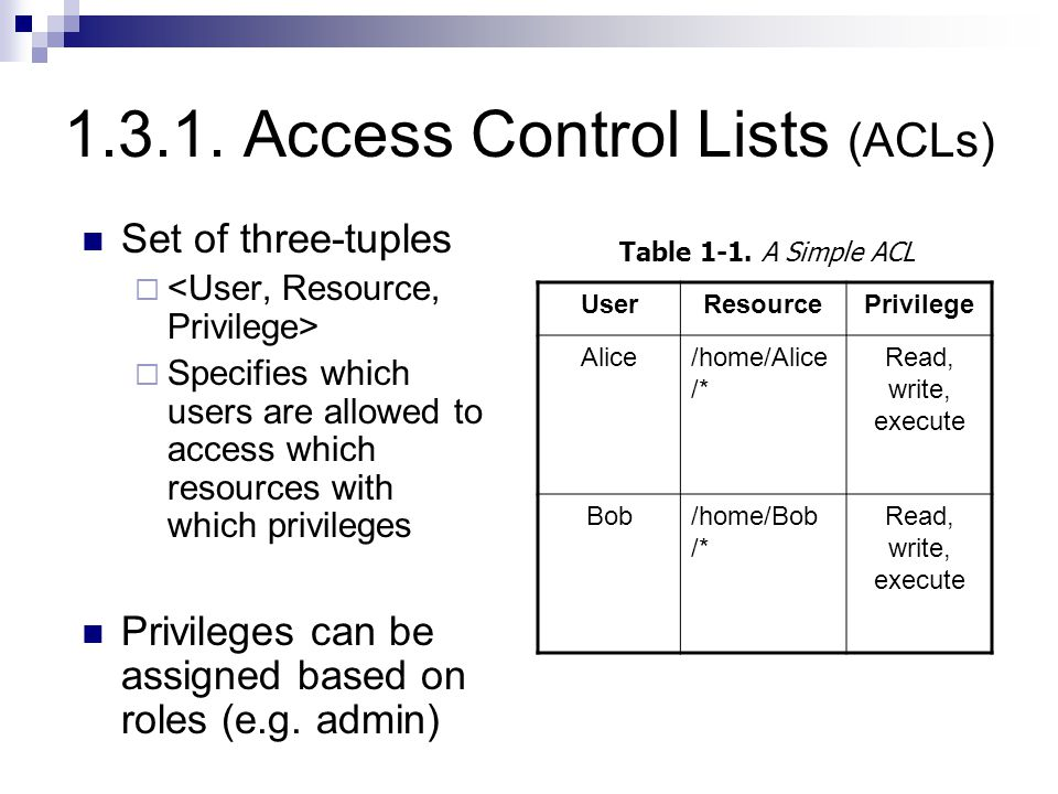 1.3.1. Access Control Lists (ACLs) Set of three-tuples   Specifies which users are allowed to access which resources with which privileges Privilege