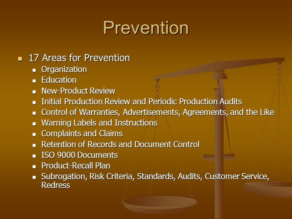 Prevention 17 Areas for Prevention 17 Areas for Prevention Organization Organization Education Education New-Product Review New-Product Review Initial