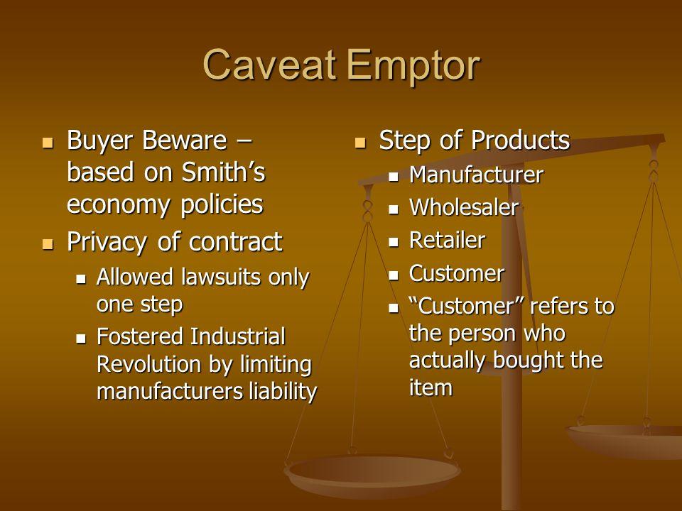 Caveat Emptor Buyer Beware – based on Smith's economy policies Buyer Beware – based on Smith's economy policies Privacy of contract Privacy of contrac