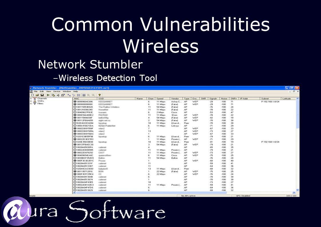 Common Vulnerabilities Wireless Network Stumbler –Wireless Detection Tool