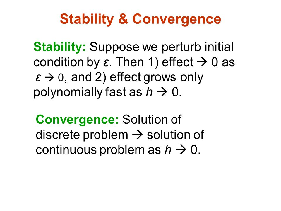 Stability & Convergence Stability: Suppose we perturb initial condition by ε.