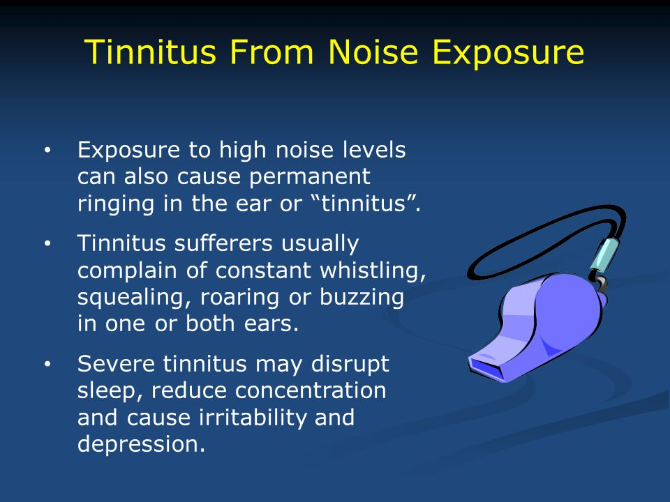 """Tinnitus From Noise Exposure Exposure to high noise levels can also cause permanent ringing in the ear or """"tinnitus"""". Tinnitus sufferers usually compl"""
