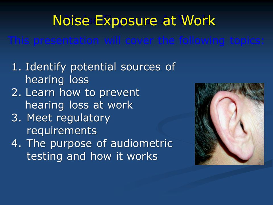 Noise Exposure At Work 1. Identify potential sources of hearing loss 2. Learn how to prevent hearing loss at work 3.Meet regulatory requirements 4.The