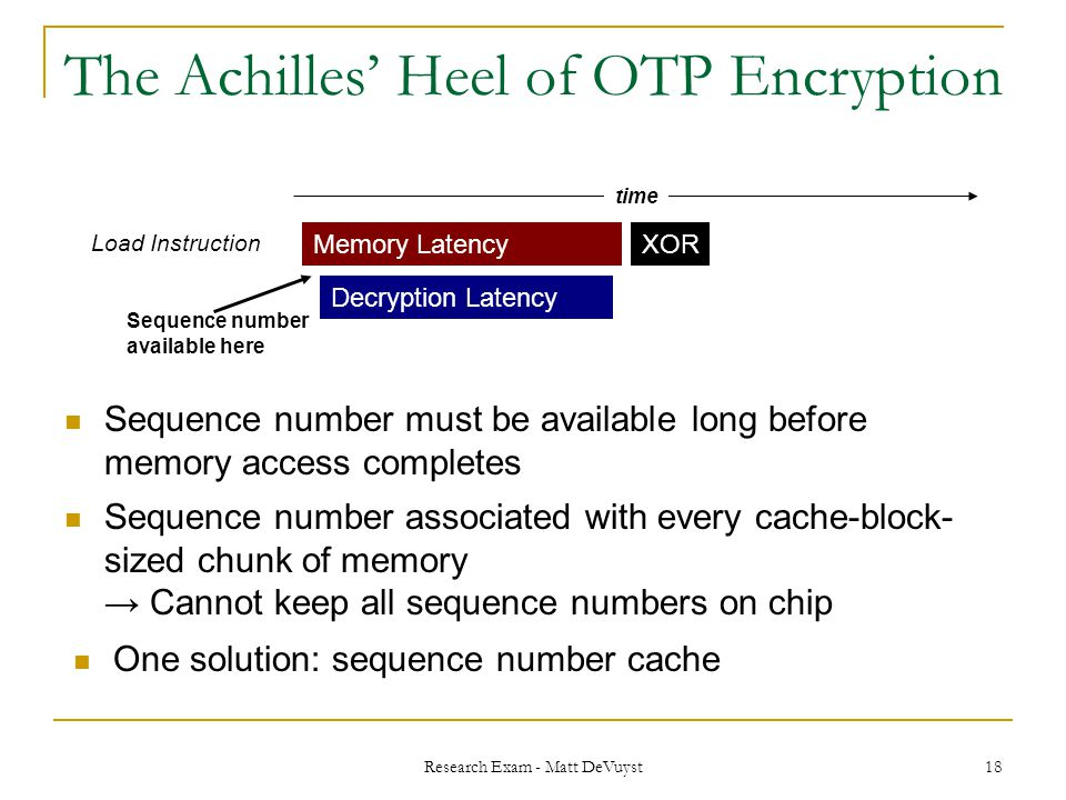 Research Exam - Matt DeVuyst 18 The Achilles' Heel of OTP Encryption Sequence number must be available long before memory access completes time Memory Latency Decryption Latency Load Instruction Sequence number available here Sequence number associated with every cache-block- sized chunk of memory → Cannot keep all sequence numbers on chip XOR One solution: sequence number cache