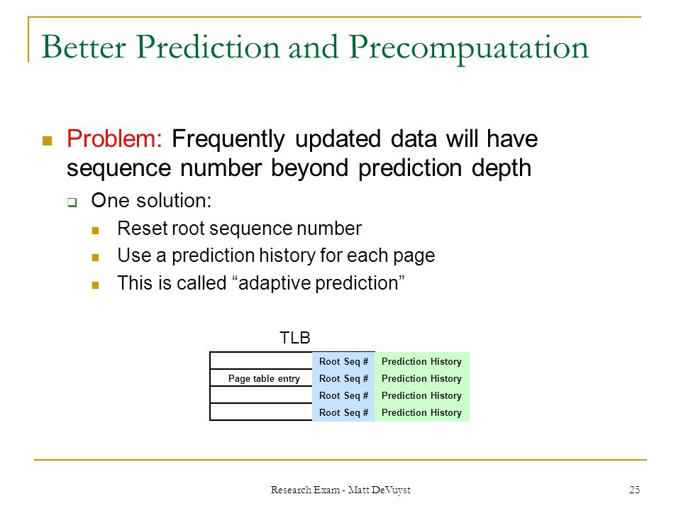 Research Exam - Matt DeVuyst 25 Better Prediction and Precompuatation Problem: Frequently updated data will have sequence number beyond prediction depth  One solution: Reset root sequence number Use a prediction history for each page This is called adaptive prediction TLB Root Seq # Page table entry Prediction History