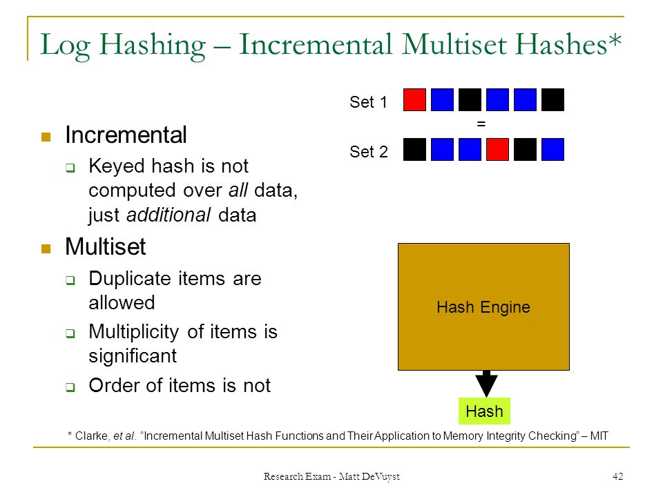 Research Exam - Matt DeVuyst 42 Log Hashing – Incremental Multiset Hashes* Incremental  Keyed hash is not computed over all data, just additional data Multiset  Duplicate items are allowed  Multiplicity of items is significant  Order of items is not Hash Set 1 Set 2 = Hash Engine * Clarke, et al.