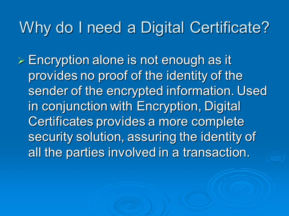 Why do I need a Digital Certificate.
