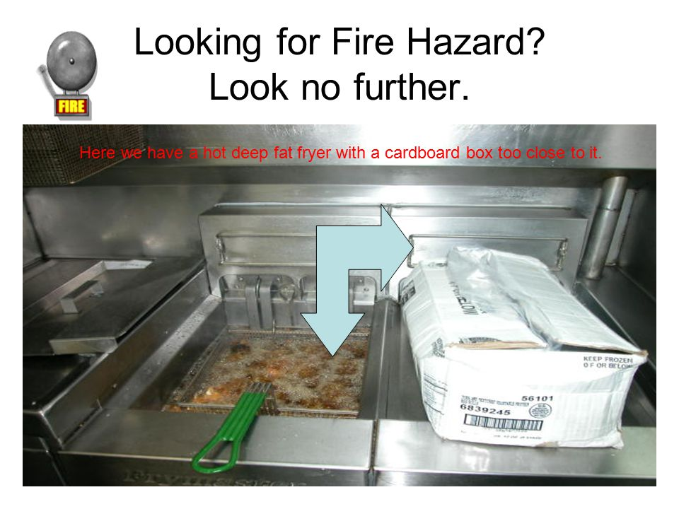Looking for Fire Hazard? Look no further. Here we have a hot deep fat fryer with a cardboard box too close to it.