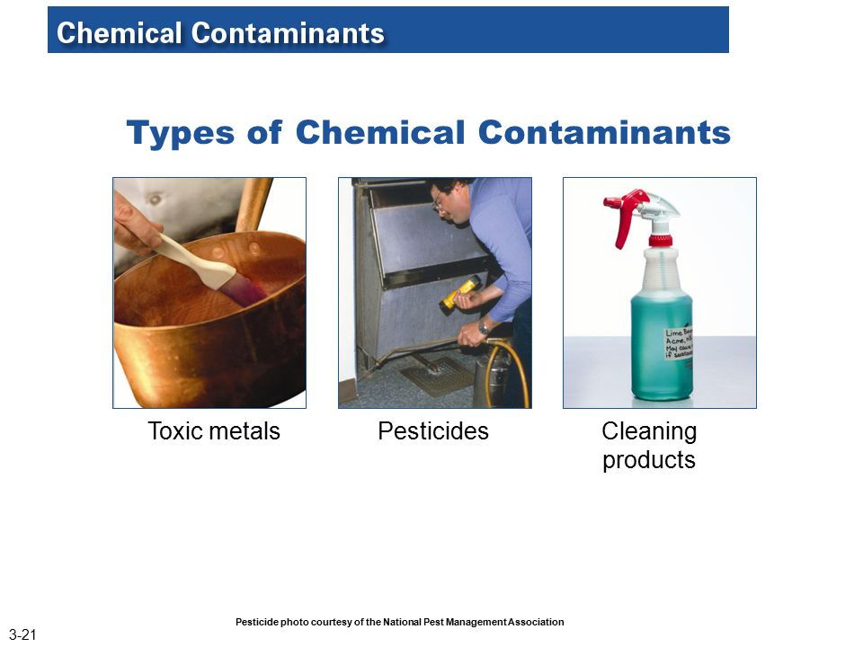 Types of Chemical Contaminants Toxic metalsPesticidesCleaning products Pesticide photo courtesy of the National Pest Management Association 3-21