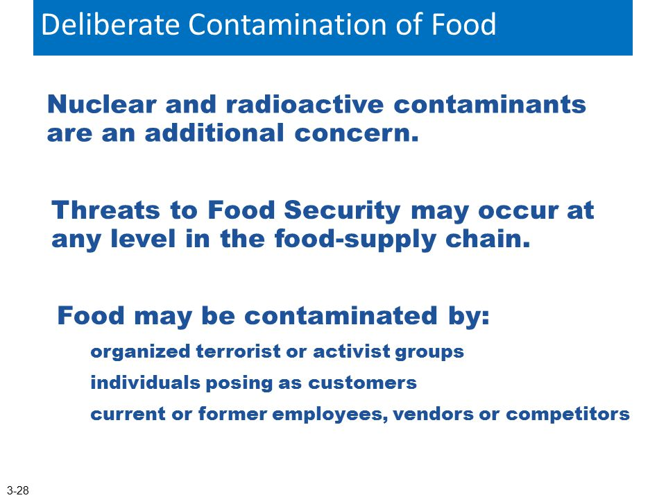 Nuclear and radioactive contaminants are an additional concern. The Deliberate Contamination Of Food Threats to Food Security may occur at any level i