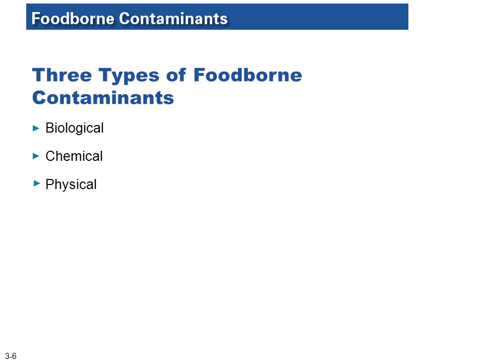 Three Types of Foodborne Contaminants Biological Chemical Physical 3-6