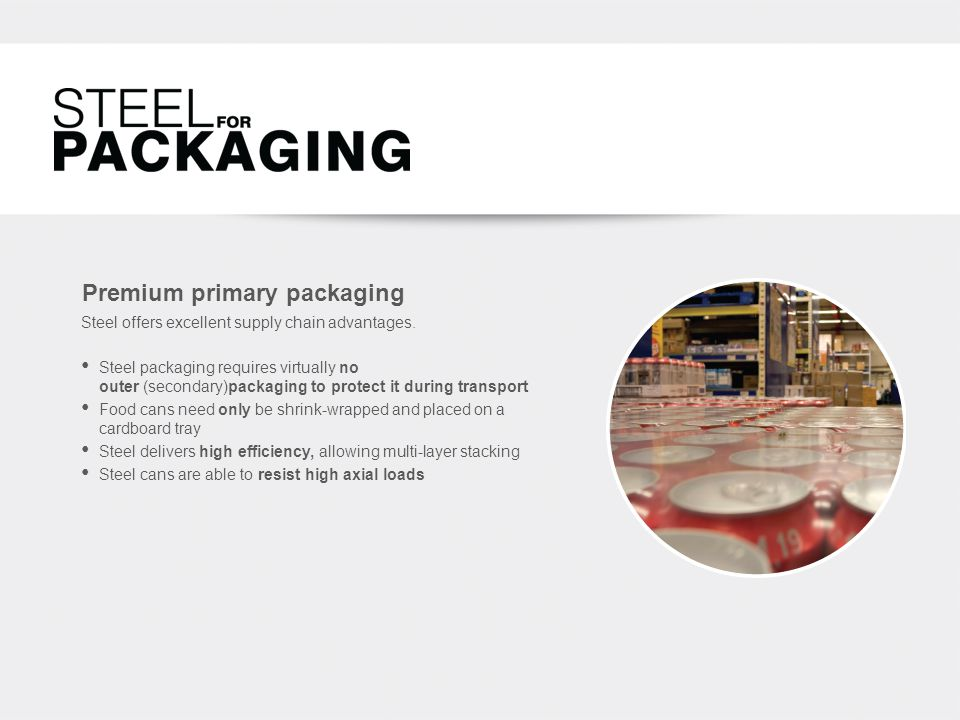 Premium primary packaging Steel offers excellent supply chain advantages.
