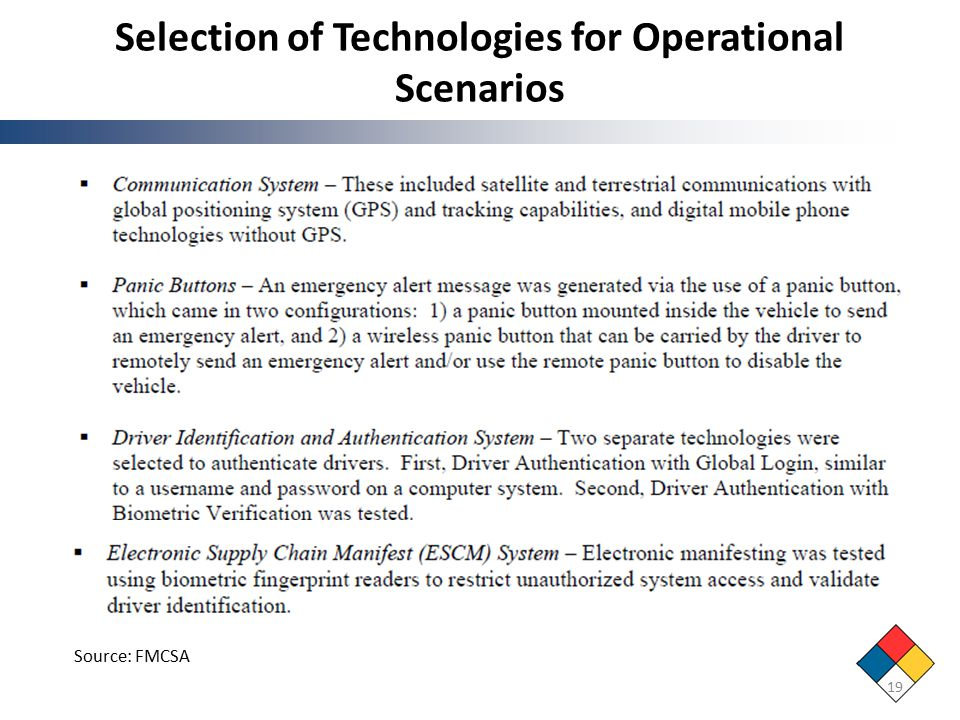 Selection of Technologies for Operational Scenarios 19 Source: FMCSA