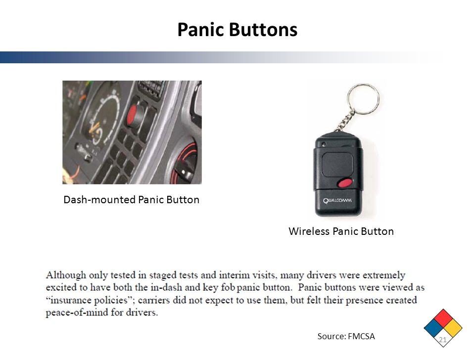 Panic Buttons 21 Dash-mounted Panic Button Wireless Panic Button Source: FMCSA