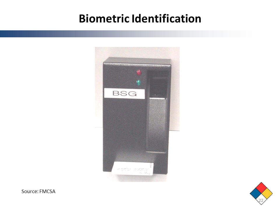 Biometric Identification 22 Source: FMCSA