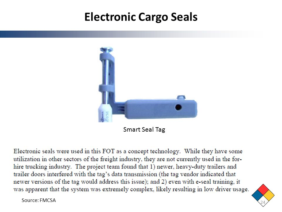 Electronic Cargo Seals 24 Smart Seal Tag Source: FMCSA