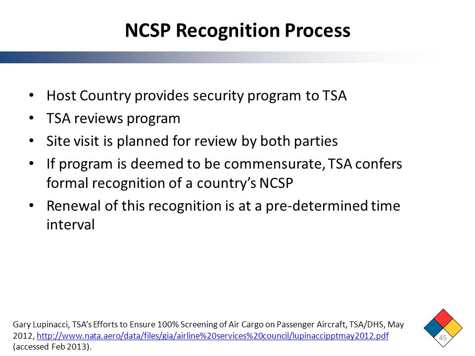 NCSP Recognition Process Host Country provides security program to TSA TSA reviews program Site visit is planned for review by both parties If program is deemed to be commensurate, TSA confers formal recognition of a country's NCSP Renewal of this recognition is at a pre-determined time interval 45 Gary Lupinacci, TSA's Efforts to Ensure 100% Screening of Air Cargo on Passenger Aircraft, TSA/DHS, May 2012, http://www.nata.aero/data/files/gia/airline%20services%20council/lupinaccipptmay2012.pdf (accessed Feb 2013).http://www.nata.aero/data/files/gia/airline%20services%20council/lupinaccipptmay2012.pdf
