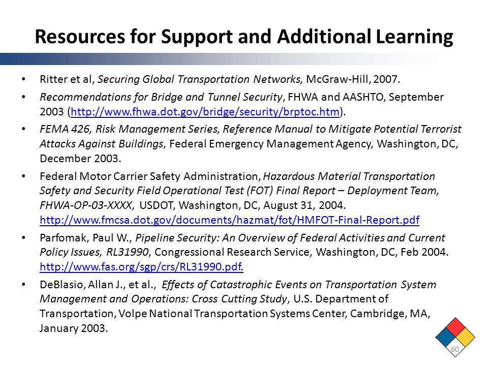 Resources for Support and Additional Learning Ritter et al, Securing Global Transportation Networks, McGraw-Hill, 2007.