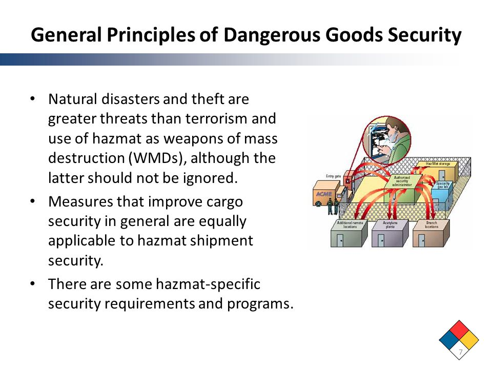 General Principles of Dangerous Goods Security Natural disasters and theft are greater threats than terrorism and use of hazmat as weapons of mass destruction (WMDs), although the latter should not be ignored.
