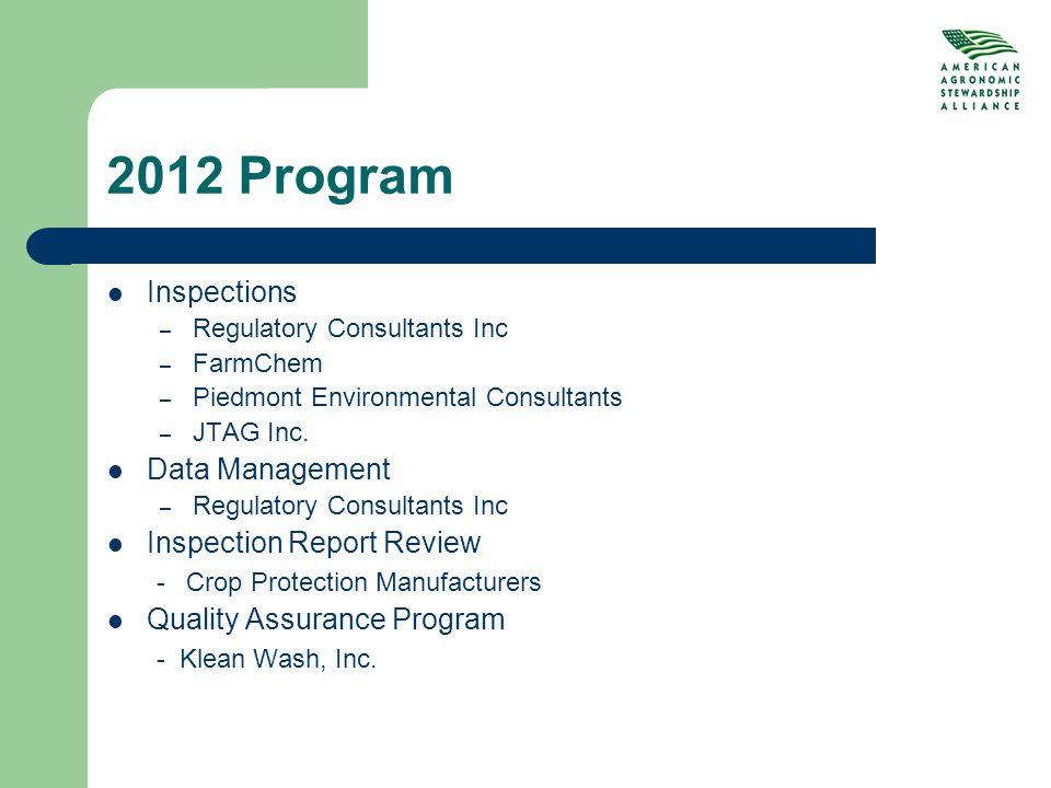 2012 Program Inspections – Regulatory Consultants Inc – FarmChem – Piedmont Environmental Consultants – JTAG Inc.
