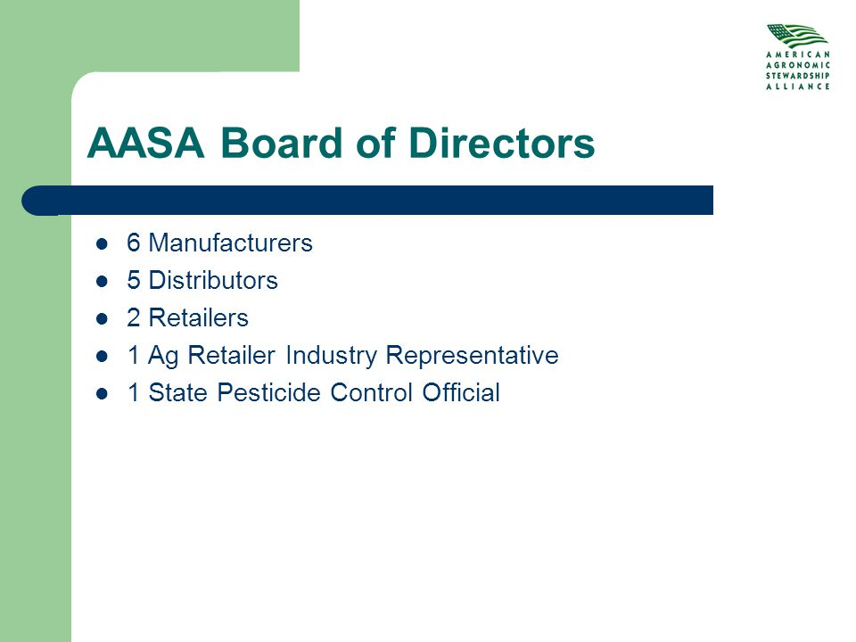 AASA Board of Directors 6 Manufacturers 5 Distributors 2 Retailers 1 Ag Retailer Industry Representative 1 State Pesticide Control Official