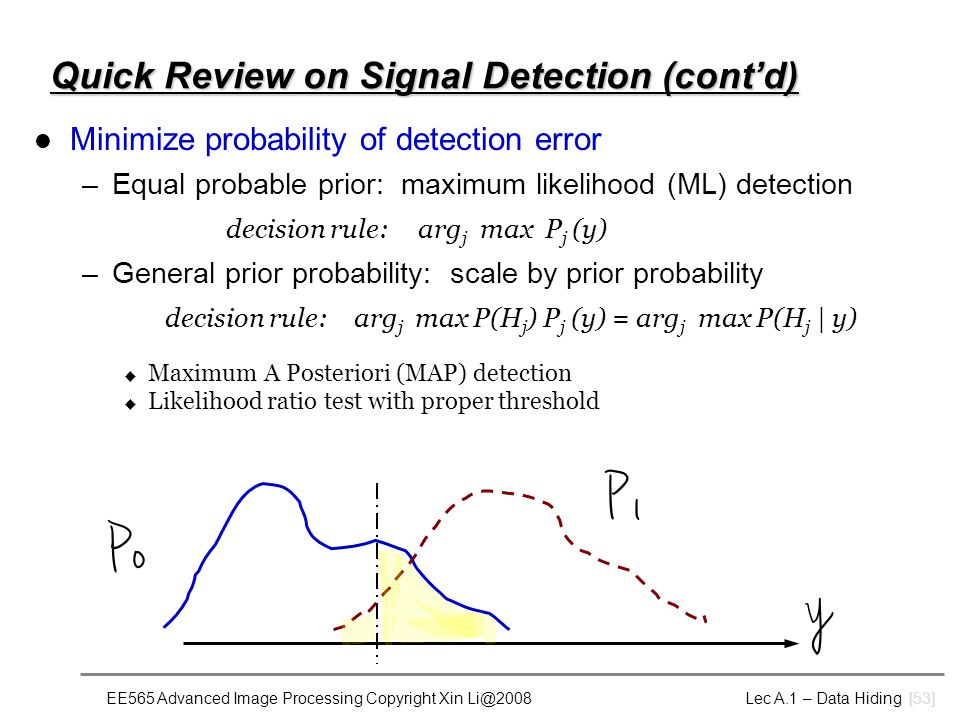 EE565 Advanced Image Processing Copyright Xin Li@2008 Lec A.1 – Data Hiding [53] Quick Review on Signal Detection (cont'd) Minimize probability of detection error –Equal probable prior: maximum likelihood (ML) detection decision rule:arg j max P j (y) –General prior probability: scale by prior probability decision rule: arg j max P(H j ) P j (y) = arg j max P(H j | y) u Maximum A Posteriori (MAP) detection u Likelihood ratio test with proper threshold