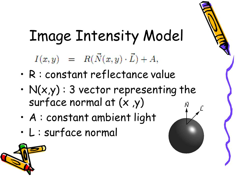 Image Intensity Model R : constant reflectance value N(x,y) : 3 vector representing the surface normal at (x,y) A : constant ambient light L : surface normal