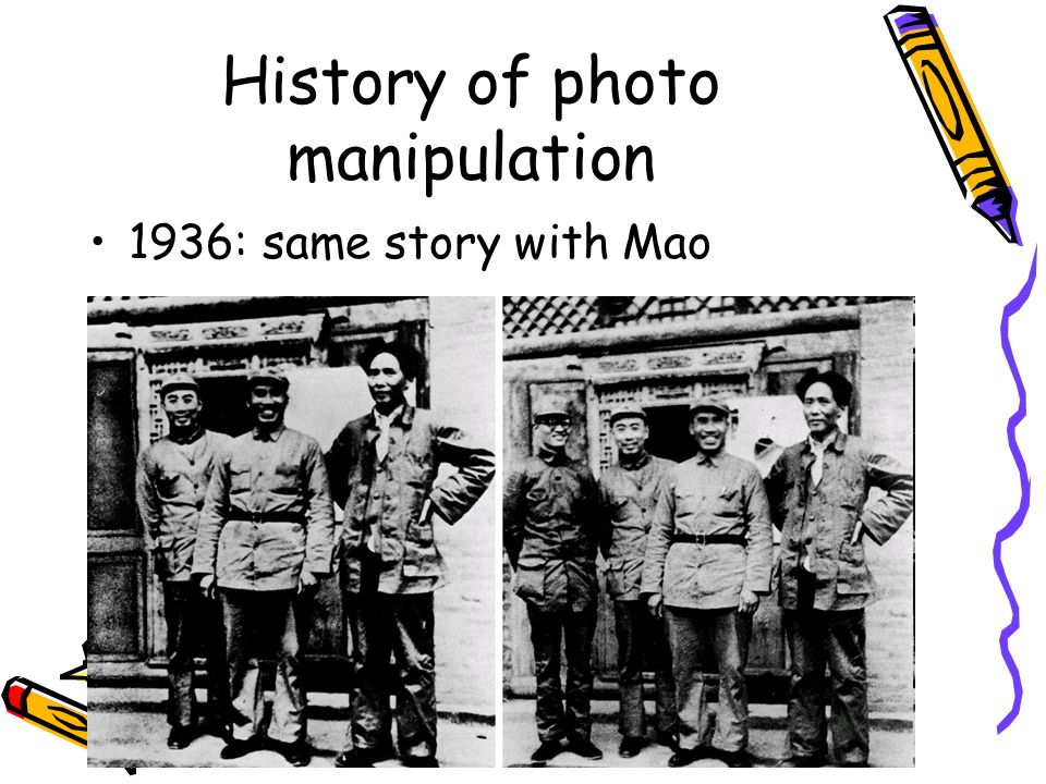 History of photo manipulation 1936: same story with Mao