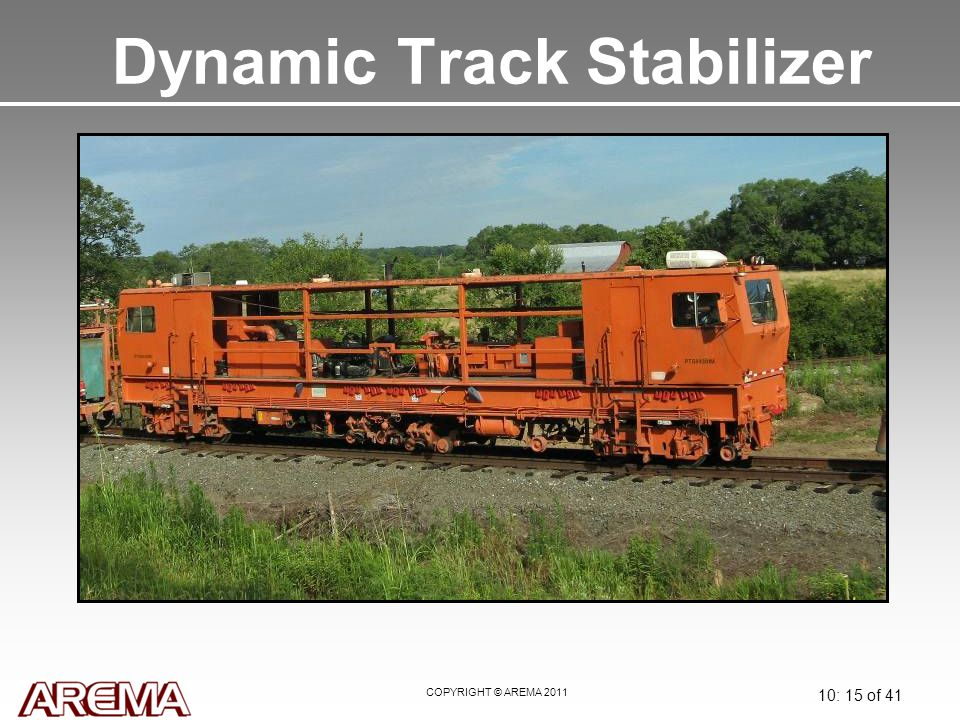 COPYRIGHT © AREMA 2011 10: 15 of 41 Dynamic Track Stabilizer