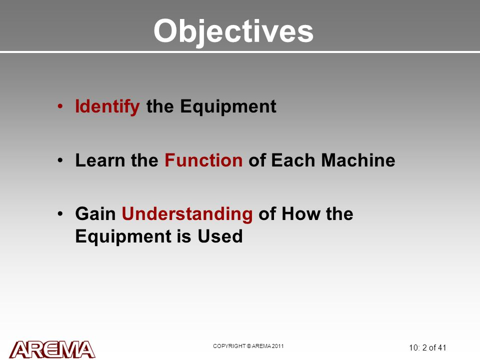 COPYRIGHT © AREMA 2011 10: 2 of 41 Objectives Identify the Equipment Learn the Function of Each Machine Gain Understanding of How the Equipment is Use