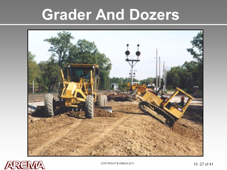 COPYRIGHT © AREMA 2011 10: 27 of 41 Grader And Dozers