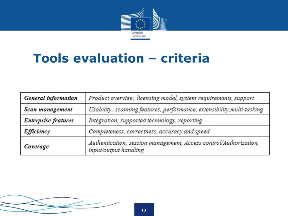 13 Tools evaluation – criteria