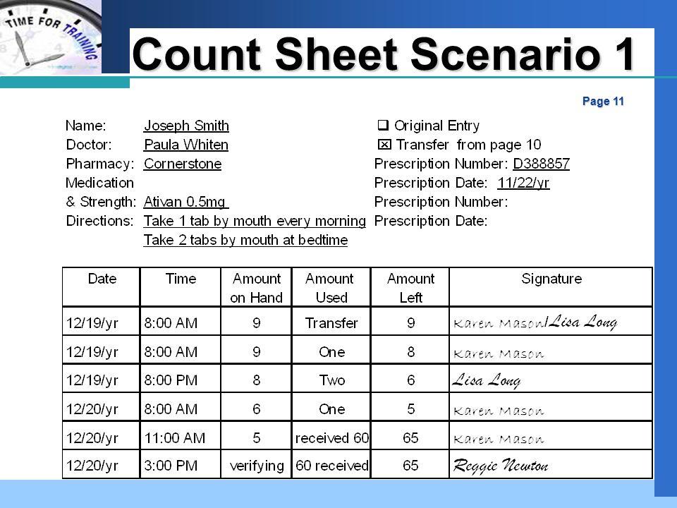 Company LOGO Count Sheet Scenario 1 Page 11