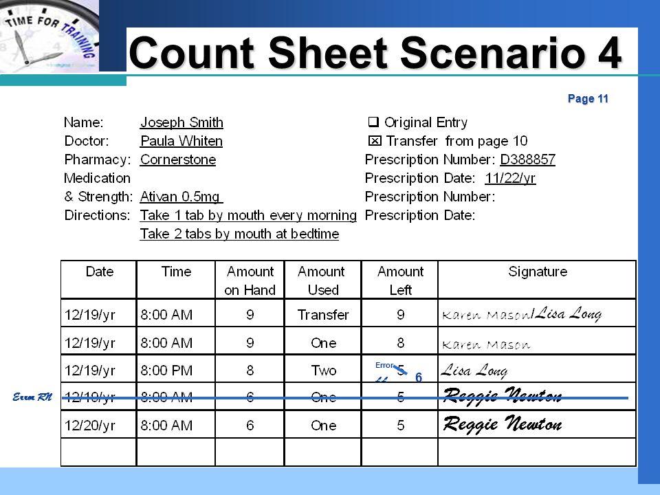 Company LOGO Count Sheet Scenario 4 Page 11 Error LL 6 Error RN