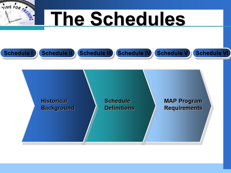 Company LOGO The Schedules Schedule I Schedule II Schedule VI Schedule V Schedule IV Schedule III Historical Background Schedule Definitions MAP Progr