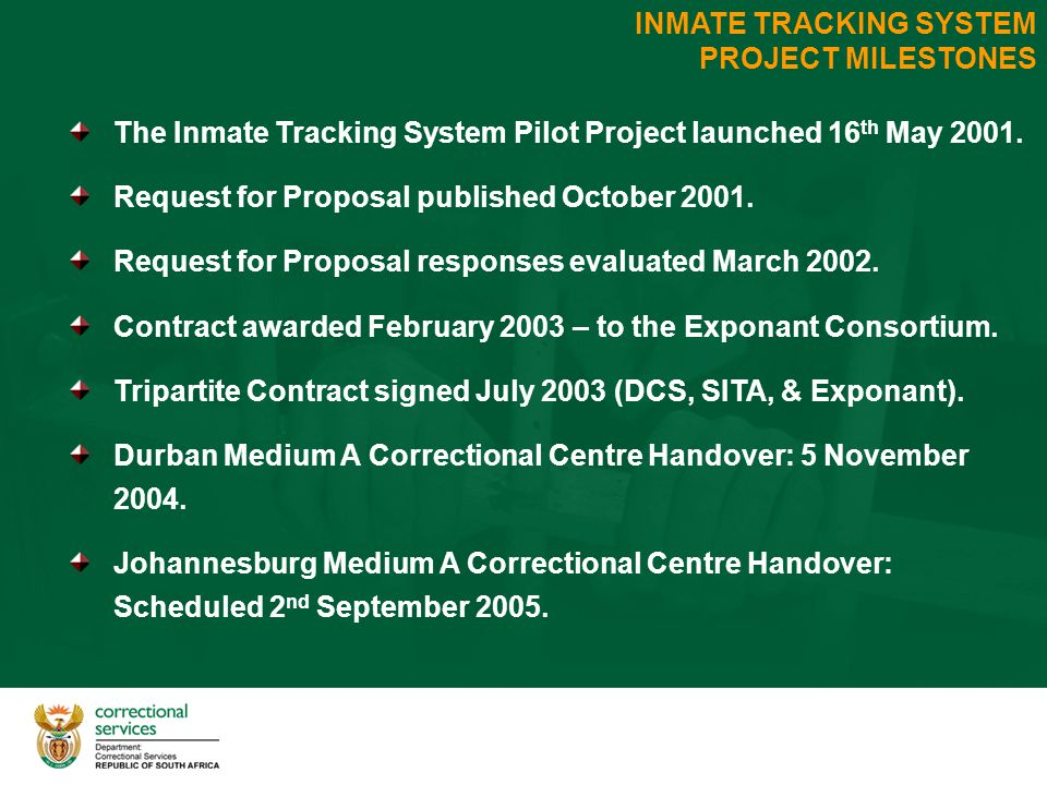 INMATE TRACKING SYSTEM PROJECT MILESTONES The Inmate Tracking System Pilot Project launched 16 th May 2001.