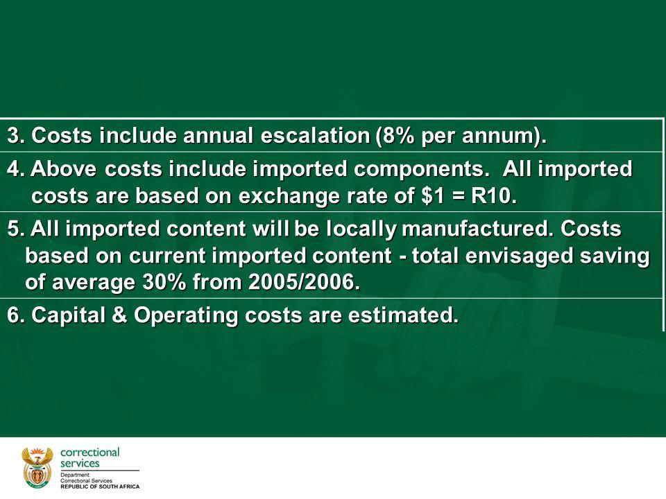 3. Costs include annual escalation (8% per annum).