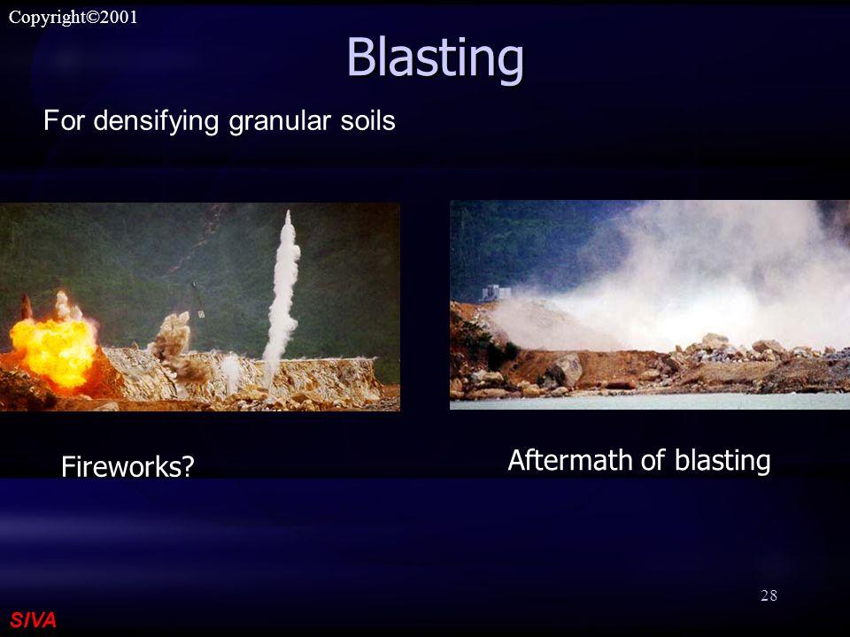 SIVA Copyright©2001 28 Blasting Aftermath of blasting Fireworks? For densifying granular soils