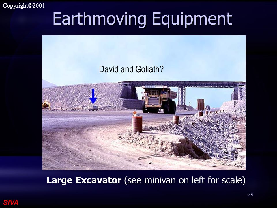 SIVA Copyright©2001 29 Earthmoving Equipment Large Excavator (see minivan on left for scale) David and Goliath